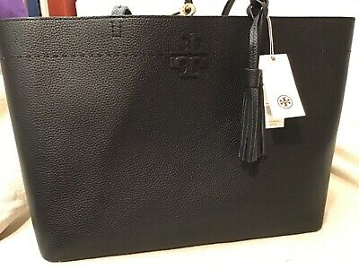 $179.35 • Buy Tory Burch McGraw Large Tote Bag Black Leather Handbag Tote Authentic New