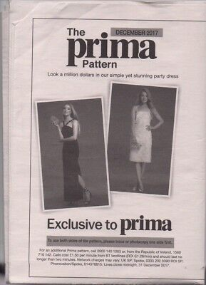 Prima Pullout Pattern - Dec 2017  - Ladies Party Dress Dressmaking Pattern • 2.75£