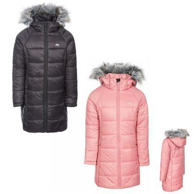Girls Trespass Elimore Quilted Casual Hooded Coat With Faux Fur Trim • 24.95£