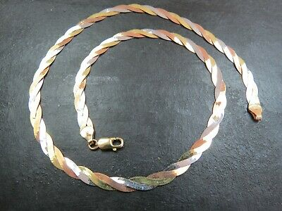 £304.95 • Buy VINTAGE 9ct ROSE WHITE & YELLOW GOLD FANCY HERRINGBONE NECKLACE 17 Inch C.1990