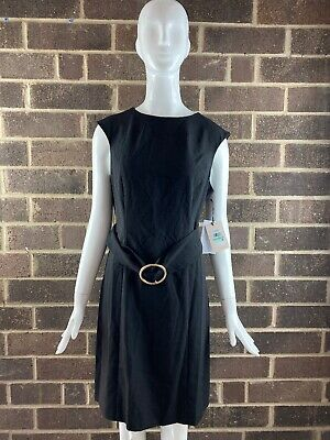 $ CDN31.64 • Buy NWT Ivanka Trump Black Cap Sleeve Belted Midi Dress Women's Size 8