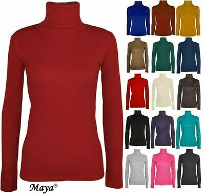 Womens Ladies Polo Neck Turtle Roll High Neck Jumper Party Tops Size 8-24 • 5.45£