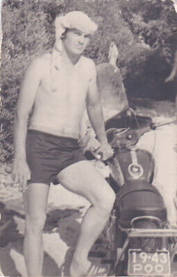 $ CDN4.84 • Buy 1960s Nude Muscular Man Guy Bike Shirtless Athlete Old Soviet Russian Photo Gay