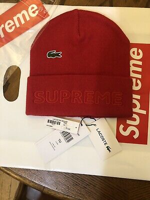$ CDN123.99 • Buy Supreme® X LACOSTE Red  Beanie FW19  Sold Out!