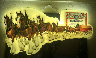 $ CDN1249.07 • Buy Vintage Budweiser Clydesdales Lighted Sign