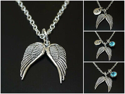 Angelwing Necklace Initial Letter Birthstone Silver Charm Personalized Religious • 16.57£