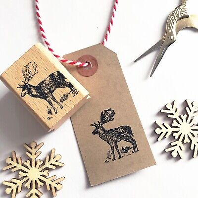 £6.95 • Buy Wooden Rubber Christmas Stamp - Stag Reindeer Rustic Country - Printing Stamps