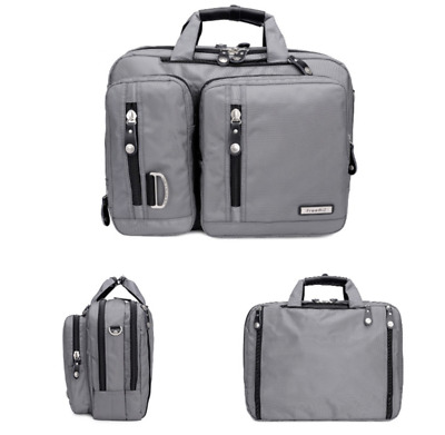 Triple Use Convertible Laptop Backpack Business Briefcase Crossbody Bag Grey • 18.99£