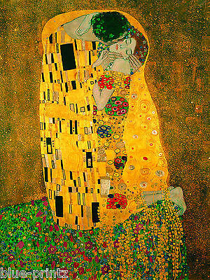 $ CDN40.82 • Buy Vintage Gustav Klimt The Kiss Final Large Old Canvas Painting Art 32  X 20