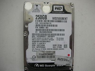 AU16.67 • Buy WD Scorpio Black 250gb WD2500BEKT-66PVMT0 2060-771692-005 Rev A 2,5   SATA