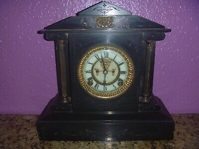 Antique Marble/Slate Ansonia Clock Co New York! For Light Restoration Or Display • 145£