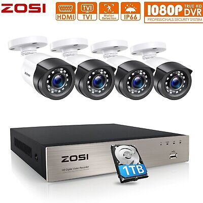 £99.99 • Buy ZOSI 1080P DVR 3000TVL Camera 2MP Home CCTV Security System Kit 1TB HDD Outdoor