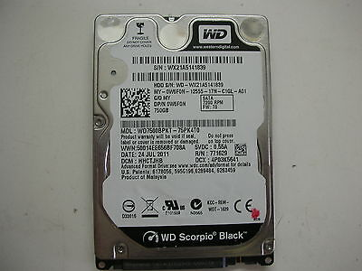 AU16.67 • Buy WD Scorpio Black 750gb WD7500BPKT-75PK4T0 2060-771629-006 Rev P1 2,5   SATA