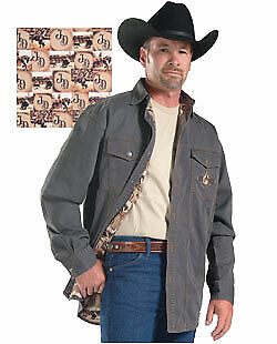 Jack Daniels Old No 7 Long Sleeve Heavy Brown Cotton Western Shirt Mens Size L • 25$