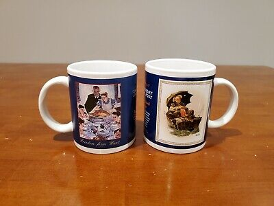 $ CDN18.75 • Buy Saturday Evening Post Norman Rockwell  Gone Fishing  &  Freedom From Want  Mugs