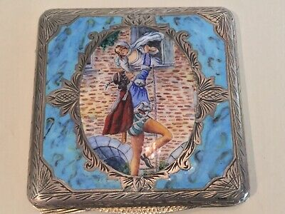 Antique Sterling Silver Guilloche Enamel Powder Compact Box, Circa 1900, Marked • 625.22£