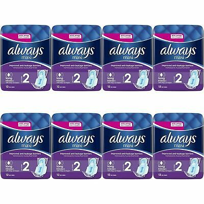 £13.66 • Buy 96 X Always Maxi Long Sanitary Pads W/ Wings, Leakage Barriers - Super Absorbent