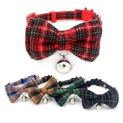 (CC063) Tartan Bow Tie Cat Collar, Safety Release, Removable Bow & Bell • 4.30£