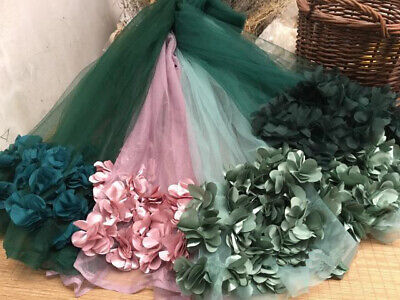 1 Yard Lace Fabric 3D Flowers Tulle Mesh Lace Fabric DIY Dress Material 51  Wide • 6.99£