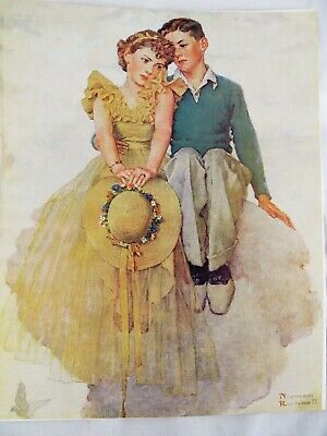 $ CDN26.29 • Buy Vintage Norman Rockwell Print On Canvas Art Litho Young Love 11 X 13 Collectible