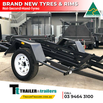 AU1735 • Buy 7x5 SINGLE AXLE | MOTORBIKE TRAILER | CHECKER PLATE CHANNEL | RAMP | NEW TYRES