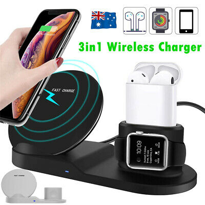 AU24.99 • Buy 3in1 Qi Wireless Charger Fast Charge Dock Stand Station For Apple Watch Samsung