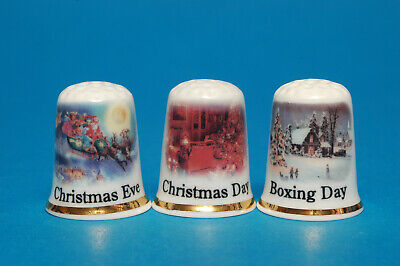 £8.99 • Buy Christmas Eve,Christmas Day & Boxing Day Exclusive Boxed Set Of 3 Thimbles B/174