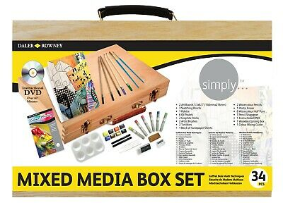 Daler Rowney Simply Mixed Media Wooden Box Set Of Paint, Pencils, Accessories • 19.99£