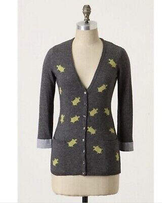 $ CDN35.20 • Buy Anthropologie Sweater Small Field Flower Slow And Steady Turtle Cardigan Gray