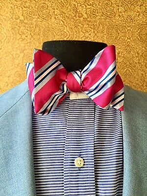 $35 • Buy ACROPOLYSS Fuschia, White And Blue Bowtie 100%Silk