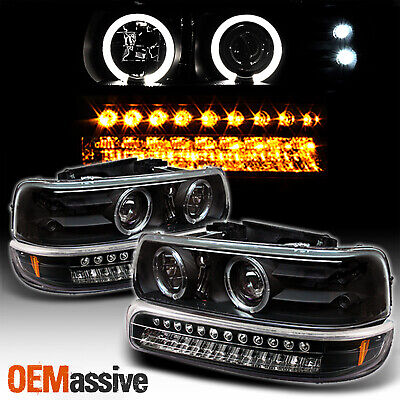 $149.96 • Buy For Chevy Silverado Suburban Tahoe LED Halo Headlights & Bumper Lamp -Black