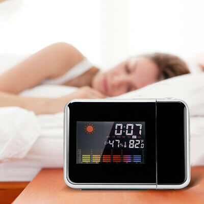 LED Digital Alarm Clock Time Projector Weather Thermometer Snooze LCD Color NEW • 9.52£