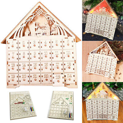 Wooden Advent Calendar Countdown LED Lights Christmas Style 24 Pull-Out Drawers • 26.64$
