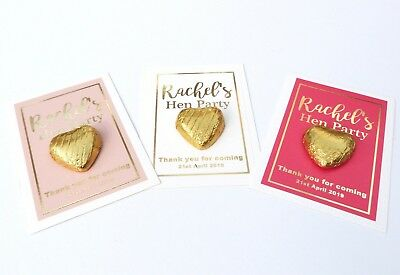 Personalised Gold Foil Hen Party Favour Cards Chocolate Hearts Pink White Gift • 0.99£