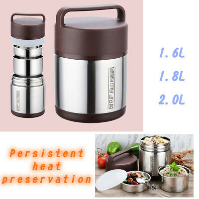 AU71.63 • Buy Stainless Steel Vacuum Insulated Lunch Box 3 Tier Jar Hot Thermos Food Container