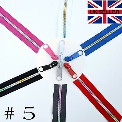 £2.45 • Buy Nylon Spiral Zipper With Rainbow Teeth Continuous Zip Chain-No5 Coil With Slider