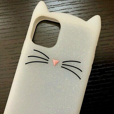 £5.59 • Buy IPhone 11 /11 Pro Max - Soft Silicone Rubber Case White Glitter Cat Ears Whisker