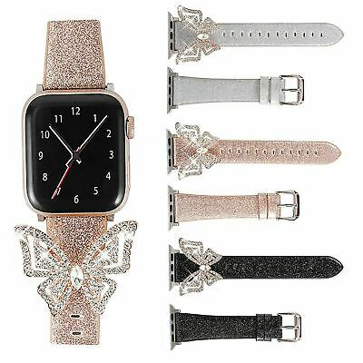$ CDN16.81 • Buy Butterfly Gemstones Leather Band For Apple Watch IWatch Series 5 4 3 2 1 Strap