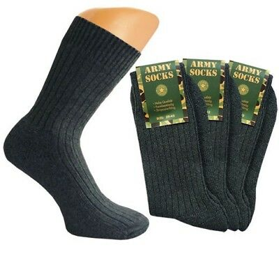 3, 6 Or 9 Pair Men's Army Socks Green Terrycloth Sole Military Sock Hunter Warm • 15.32£