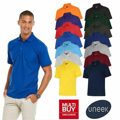 £6.89 • Buy Uneek Deluxe Plain Polo Shirt • Mens Womens Casual Work Top UC108 • 14 Colours