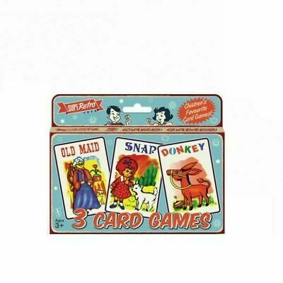 Pack Of 3 Childrens Classic Card Games Old Maid Snap Donkey Kids Stocking Filler • 2.70£