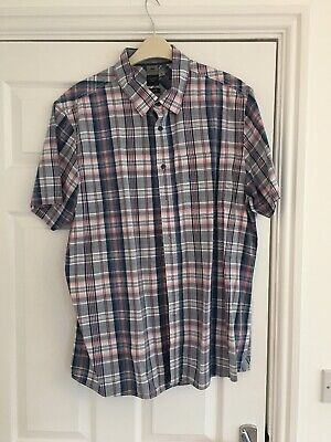 """Mens Shirt Atlantic Bay Blue With Red/white Check 100% Cotton XL Pit2pit 22"""" • 7.95£"""
