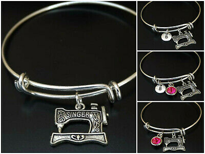 $14.90 • Buy Sewing Machine Bracelet Initial Birthstone Sewer Seamstress Charm Personalized