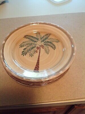 $20 • Buy 5 West Palm Tree Dinner Plates Ceramic Bamboo  Home Trends 10.5