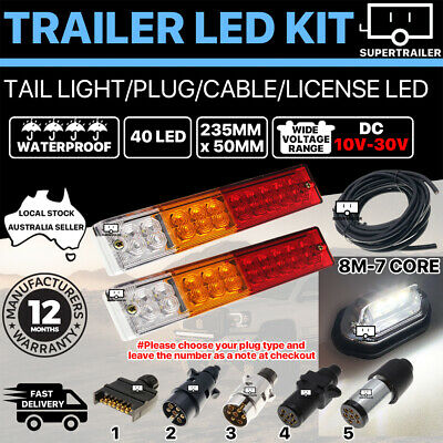 AU57.95 • Buy Pair Of 40 LED TRAILER LIGHTS KIT 1x NUMBER PLATE, PLUG, 8M 7 CORE CABLE 10-30V