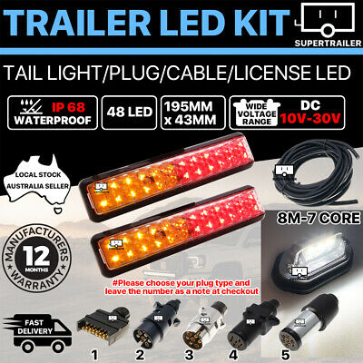 AU56.95 • Buy Pair Of 48 LED TRAILER LIGHTS KIT 1x NUMBER PLATE, PLUG, 8M 7 CORE CABLE 10-30V