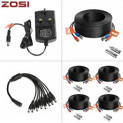 ZOSI 100ft BNC Power Video Cable 20m 30m Wire CCTV Camera System 1A 2A UK Power • 5.99£