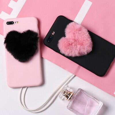 Shockproof Fluffy Faux Fur Love Pom Pom Soft Silicone Cute Slim Phone Case Cover • 3.95£