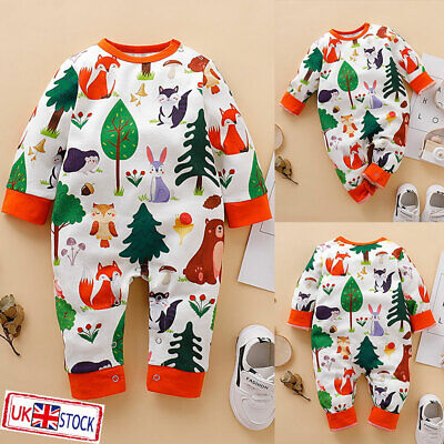 UK Baby Boys Girls Cartoon Animal Print Romper Jumpsuit Bodysuit Outfits Clothes • 4.99£