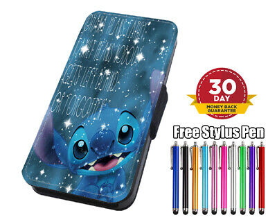 Disney Lilo And Stitch Ohana Flip Leather Phone Case For IPhone Samsung Huawei  • 7.95£